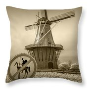 Sepia Colored No Tilting At Windmills Throw Pillow