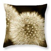 Sepia Dandelions Throw Pillow