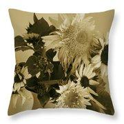 Sepia Garden Sunflower Bouquet Throw Pillow