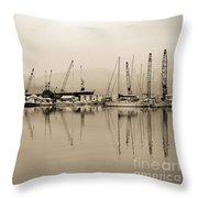 Sepia Harbor Throw Pillow