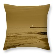 Sepia Lighthouse Throw Pillow