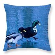 Sepia Mallard Friends Throw Pillow