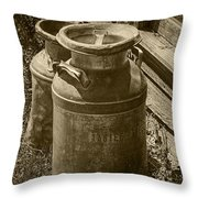 Sepia Photo Of Vintage Creamery Cans At The Old Prairie Homestead Near The Badlands Throw Pillow