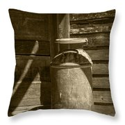 Sepia Photograph Of Vintage Creamery Can By The Old Homestead In 1880 Town Throw Pillow