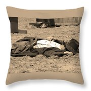 Sepia Rodeo Gunslinger Victim Throw Pillow