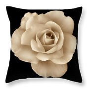 Sepia Rose Flower Portrait Throw Pillow