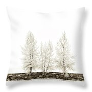 Sepia Square Tree Throw Pillow