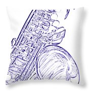 Sepia Tone Drawing Of A Tenor Saxophone 3356.03 Throw Pillow