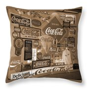 Sepia Toned Signs Of Coca Cola Throw Pillow