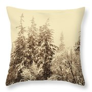 Sepia Winter Landscape Throw Pillow