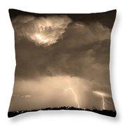 Sepiathunderstorm Boulder County Colorado   Throw Pillow