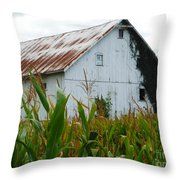 September Corn Barn Throw Pillow