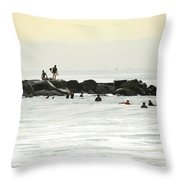 September Swell At Rockaway Draws Crowd Throw Pillow