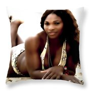 Serena Williams In The Sand Throw Pillow