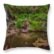 Serene Garden Pond Throw Pillow