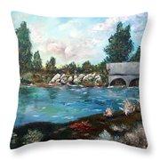 Serene River Throw Pillow