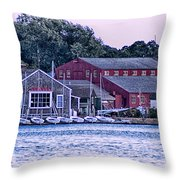 Serene Seaport Throw Pillow