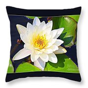 Serenity In White - Water Lily Throw Pillow
