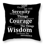 Serenity Prayer 5 - Simple Black And White Throw Pillow
