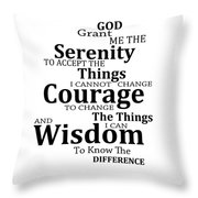 Serenity Prayer 6 - Simple Black And White Throw Pillow