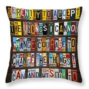 Serenity Prayer Reinhold Niebuhr Recycled Vintage American License Plate Letter Art Throw Pillow