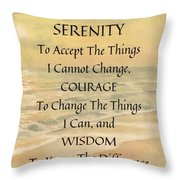 Serenity Prayer Typography On Ocean Sunset Watercolor Throw Pillow