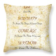 Serenity Prayer With Flowers And Butterflies Throw Pillow