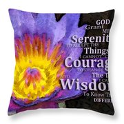 Serenity Prayer With Lotus Flower By Sharon Cummings Throw Pillow