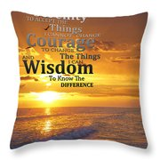 Serenity Prayer With Sunset By Sharon Cummings Throw Pillow