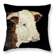 Sergeant Major A Hereford Bull Throw Pillow