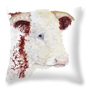 Sergeant Major Is A Hereford Bull Throw Pillow