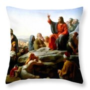 Sermon On The Mount Watercolor Throw Pillow