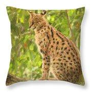 Serval Leptailurus Serval Throw Pillow