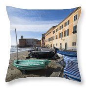 Sestri Levante And Boats Throw Pillow
