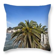 Sestri Levante And Palm Tree Throw Pillow