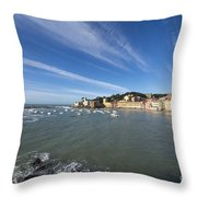 Sestri Levante With Blue Sky And Clouds Throw Pillow