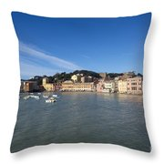 Sestri Levante With Blue Sky Throw Pillow