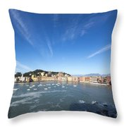 Sestri Levante With Clouds Throw Pillow
