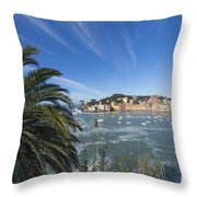 Sestri Levante With Palm Tree Throw Pillow