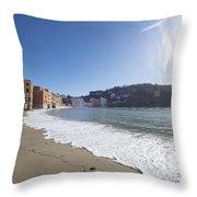 Sestri Levante With The Beach Throw Pillow