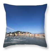 Sestri Levante With The Sea And Blue Sky Throw Pillow