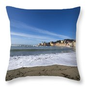 Sestri Levante With Waves Throw Pillow