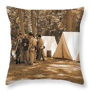 Settin Up Camp Throw Pillow
