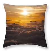 Setting Sun Above The Clouds Throw Pillow