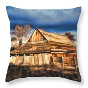 Setting Sun Gathering Storm And Old Homestead Throw Pillow