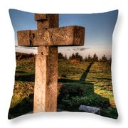 Setting Sun On A Cross By The Trenches Throw Pillow