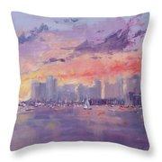 Setting Sun Over Boston  Throw Pillow by Laura Lee Zanghetti