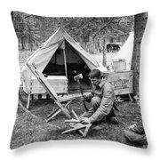 Setting Up Camp Throw Pillow