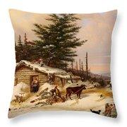 Settler's Log House Throw Pillow