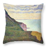 Seurat's Seascape At Port Bessin In Normandy Throw Pillow